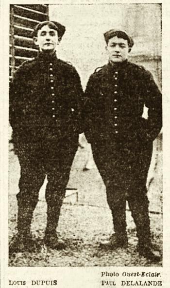 Photo extraite du Ouest-Eclair du 28 janvier 1915 consacré à 2 enfants soldats.