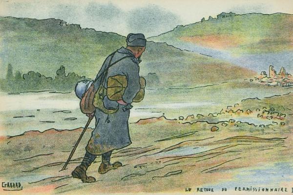 (Le départ et le retour du permissionnaire. Dessins d'Ernest Gabard. Tous droits réservés. Musée de Bretagne et coll.part.)